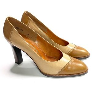 Joseph Magnin Heels Vintage Brown and Tan Leather